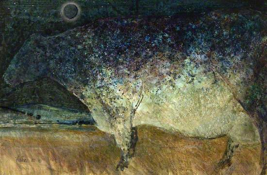 Cow Considering the Stars and Moon