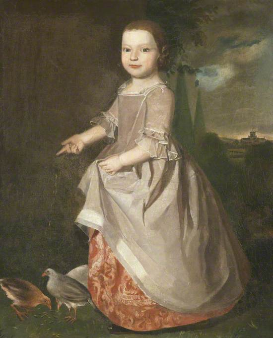 Portrait of a Young Girl of the Machell Family of Aynsome Manor, Cartmel, Feeding Poultry