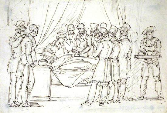 Paris: A Medical Professor Taking the Pulse of a Sick Man in a Hospital Bed while Medical Students Watch and Take Notes