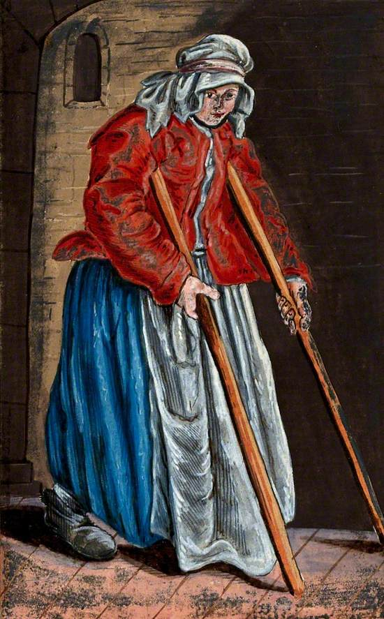 An Old Woman Dressed in Rags Moving with the Aid of Two Crutches