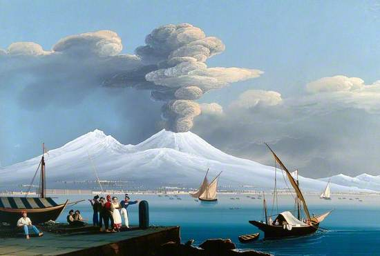 The Bay of Naples with Mount Vesuvius Erupting and Covered in Snow, 6 January 1836