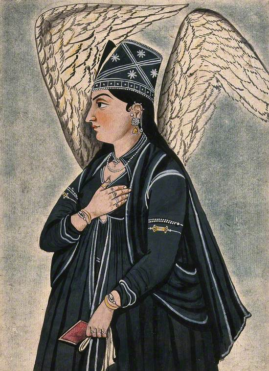 A Mughal Style Peri (Fairy) Dressed in Black