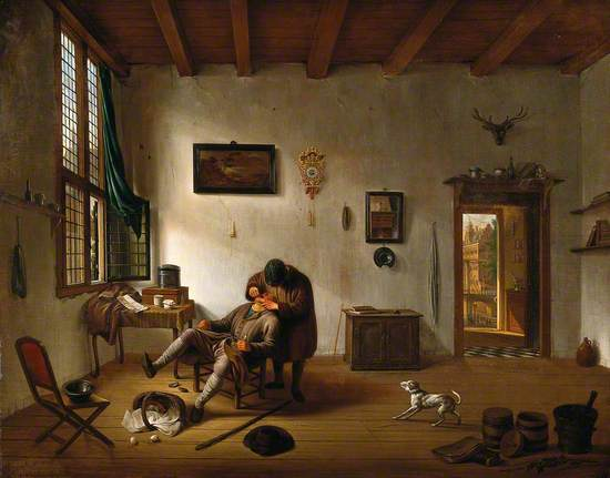 Interior of a Dutch House with an Operator Attending to a Man's Teeth