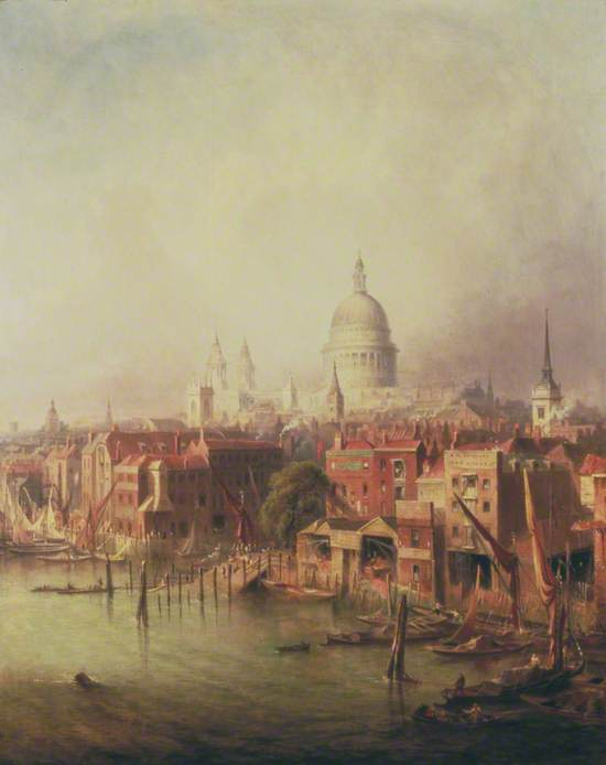 Queenhithe, London, St Paul's in the Distance