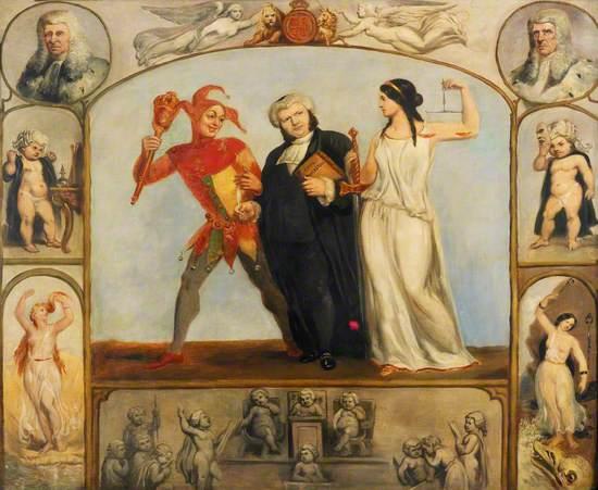 Renton Nicholson with Allegorical Scenes and Figures