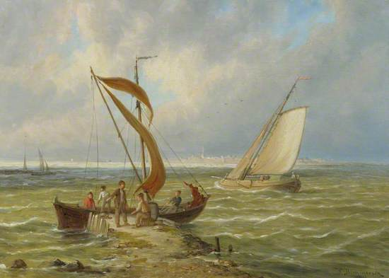 Fisherman and Boats in an Estuary