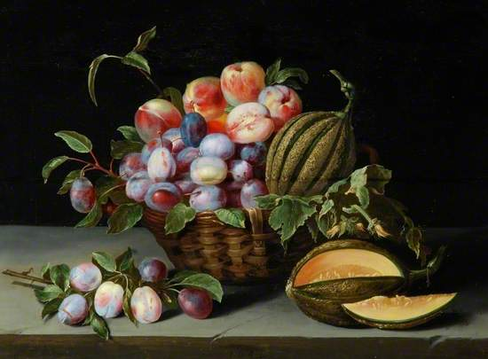 Still Life, Plums, Melons and Peaches