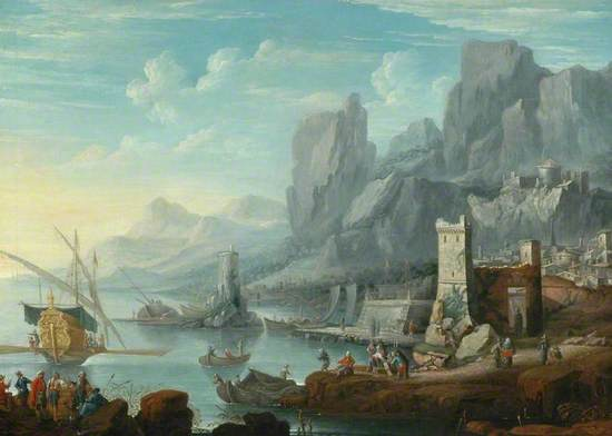 A Rocky Coast with a Town and Ships