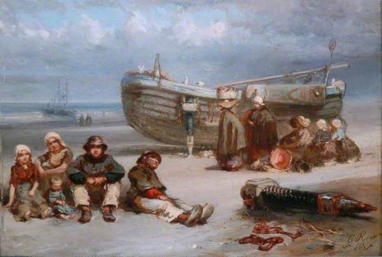 Fisherfolk with a Boat on the Seashore
