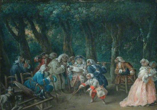 An Assemblage of Monkeys in a Park Dressed as Humans
