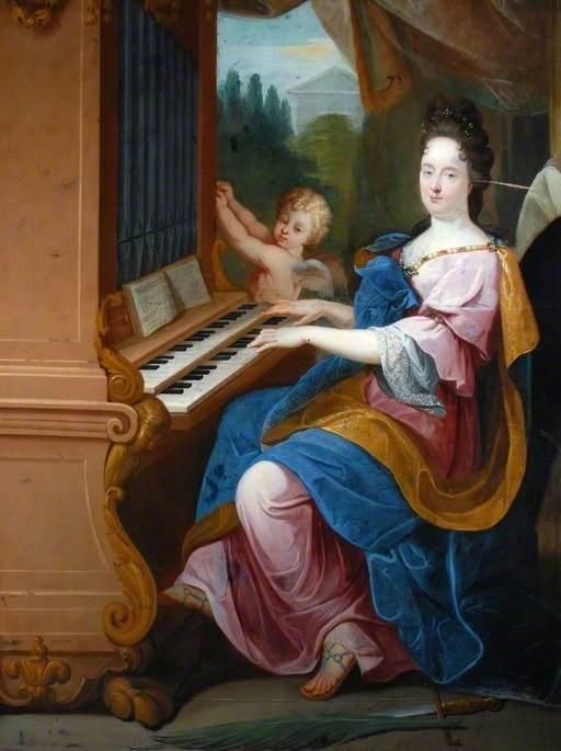 Madame de Maintenon as Saint Cecilia and a Boy (possibly the Duc de Maine) as an Angel Blowing an Organ