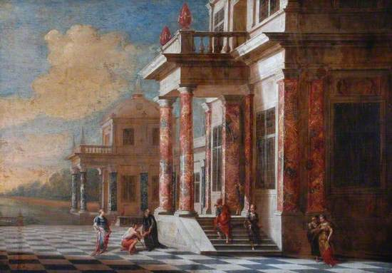 A Palace with a Courtyard and Figures