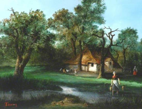 Wooded Landscape with Farm Buildings and a Woman Drawing Water