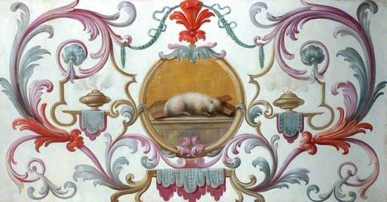 Decorative Scrolls with Paschal Lamb