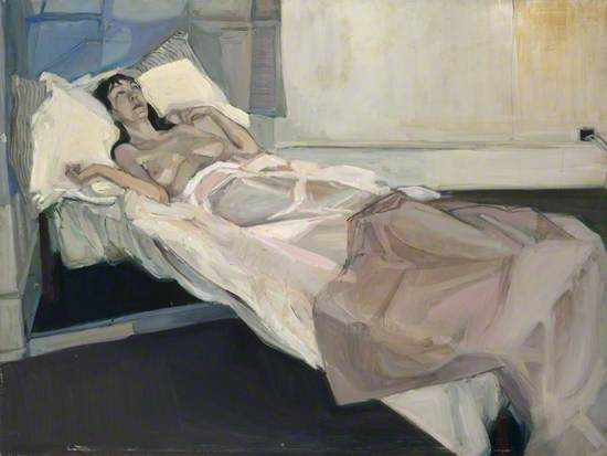 Reclining Female Nude on Bed with White Drapes
