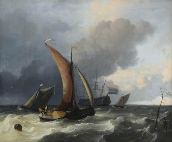 Dutch Sailing Boats in a Rough Sea