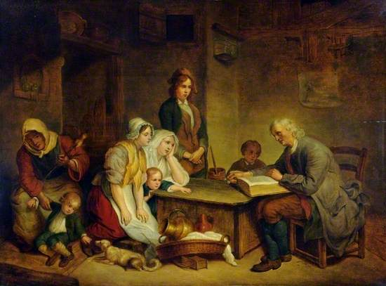 A Father Reading the Bible to His Family