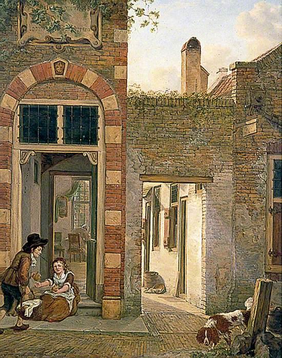 Dutch Girl and Boy on a House Doorstep