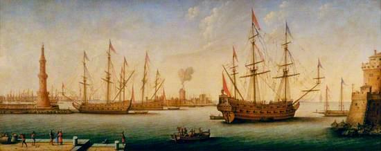 Mediterranean Port with Men o' War