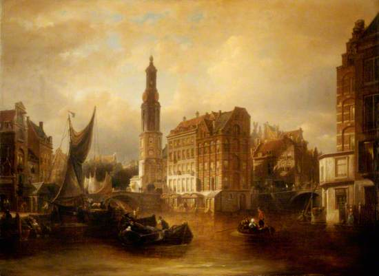 Dutch Canal Scene, the Old Mint, Amsterdam