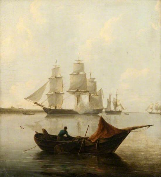 A Frigate and Other Vessels Becalmed Inshore