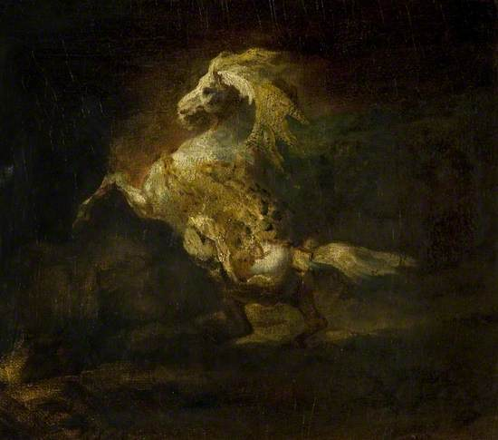 A Prancing Grey Horse