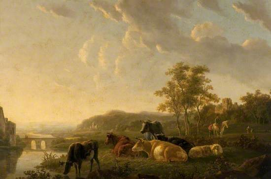 River Landscape with Cattle, Sheep and Figures