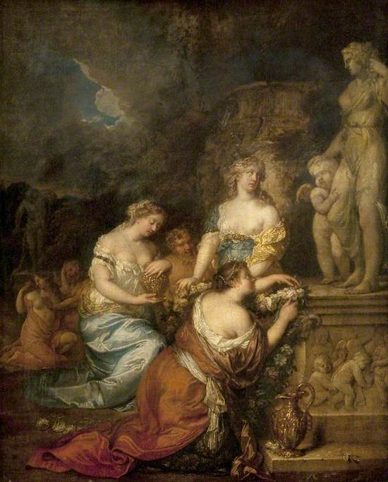 Nymphs Laying Offerings before a Statue of Venus and Cupid