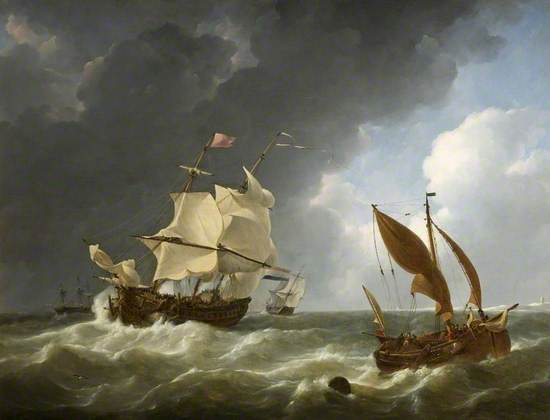 A Dutch Frigate Coming up to Anchor in a Storm