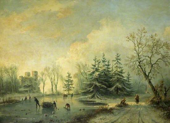 Trees, a Castle and Skating Figures