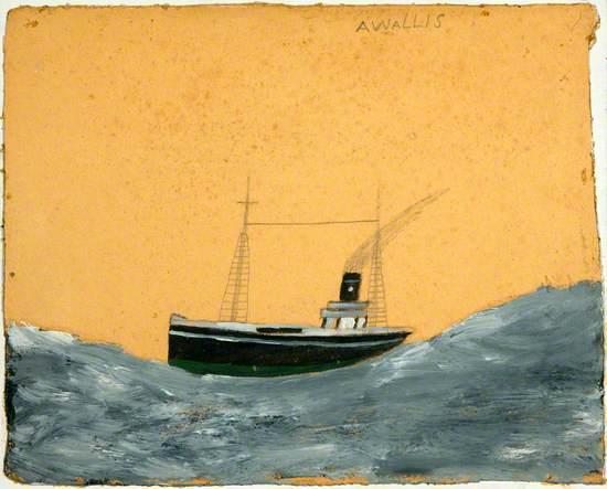 Ship Amid Tall Waves