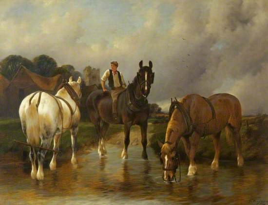 A River Landscape with Three Horses Watering, One of Them Ridden by a Boy