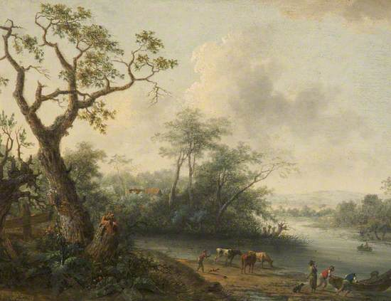 Landscape with Men and Cattle at the Edge of a River