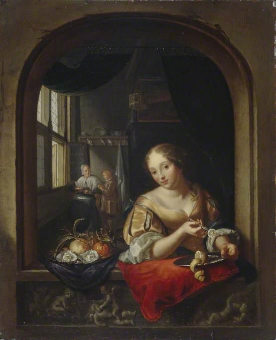 A Girl at a Kitchen Window Slicing a Lemon