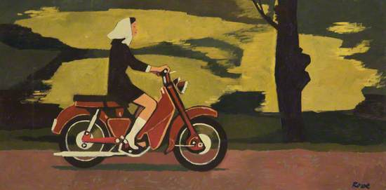 Woman on Moped