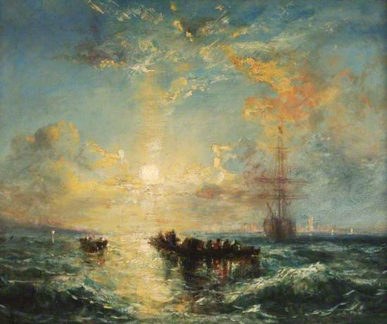 Sunset on Southampton Water Showing a Seascape with Shipping and the Isle of Wight