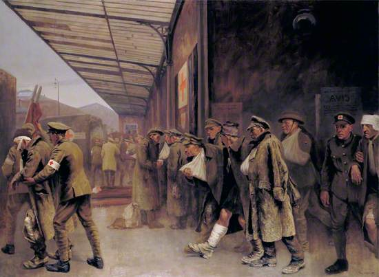 British Red Cross Society and Order of St John of Jerusalem Workers Attending Wounded on their Arrival at Boulogne Station
