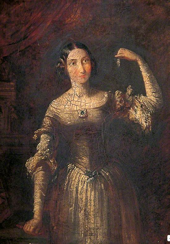 Woman Holding a Pendant
