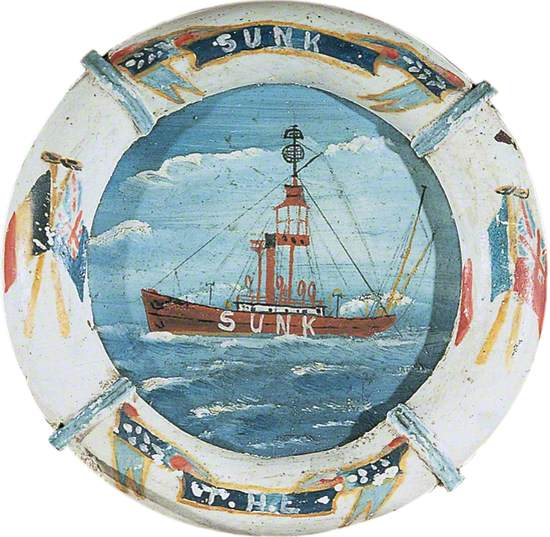 Painting of the 'Sunk' Lightship from Abeam