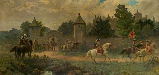 Charles I Leaving the Cavendish Mansion, Leicester, on His Way to Relieve Oxford, May 1645
