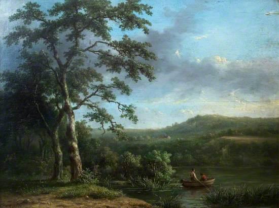 River Scene with Men in a Boat