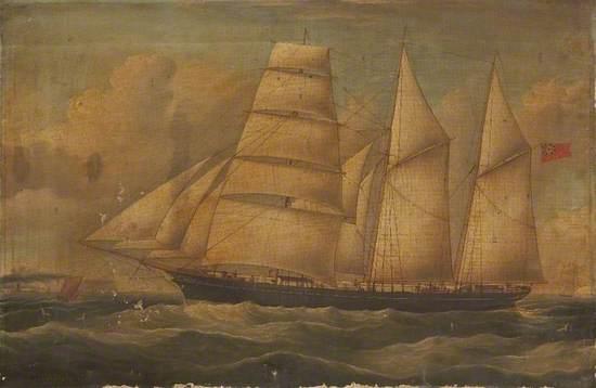 Three-Masted Sailing Ship off the Coast