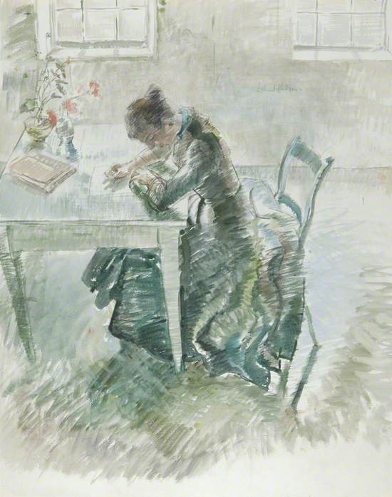 Woman Writing in a Green Dress