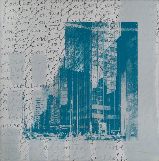 Text and Blue Buildings on White