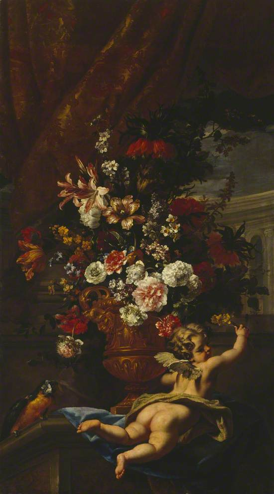 Cupid and Flowers