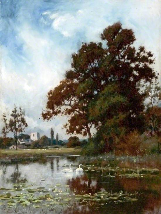 Landscape (Mere, Swans, Church in Background)