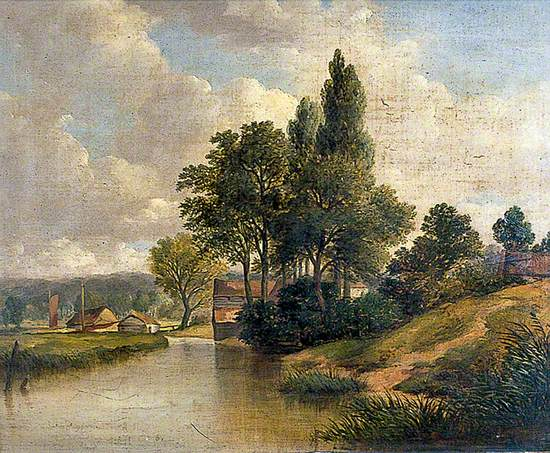 River Scene with a Cottage and Trees
