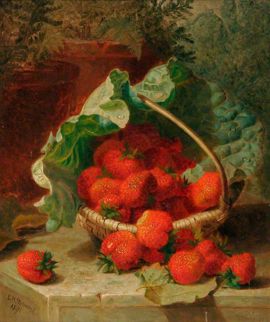 Still Life of Strawberries on a Cabbage Leaf in a Basket