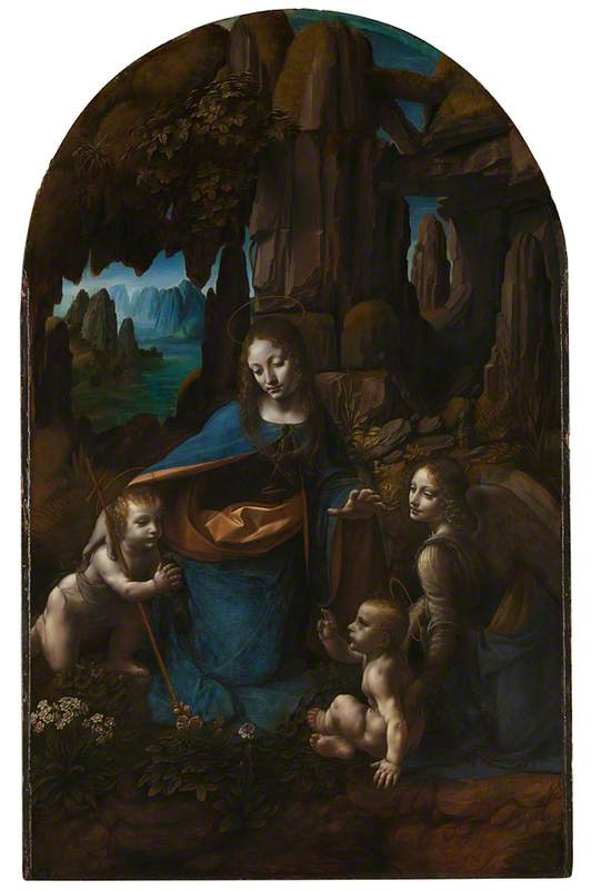 The Virgin of the Rocks (The Virgin with the Infant Saint John adoring the Infant Christ accompanied by an Angel)