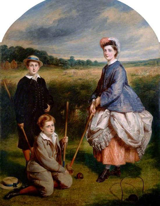 William Middleton (b.1852), John Middleton (b.1855) and Eliza Middleton (b.1848) Playing Croquet